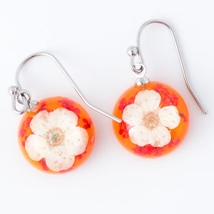 Flower Earrings Mini Orb Earrings White-Orange