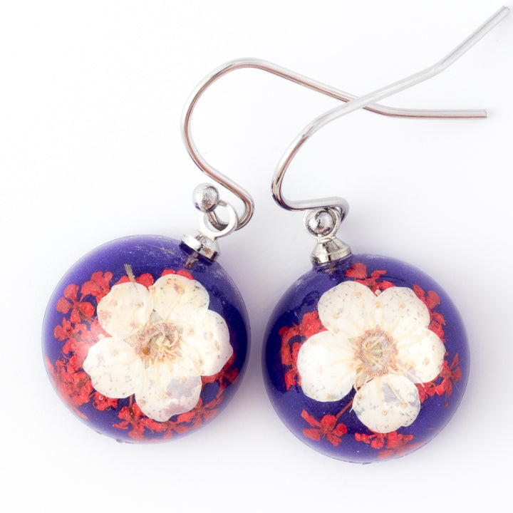 Flower Earrings Mini Orb Earrings White-Purple