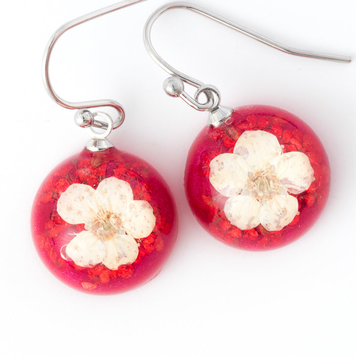 Flower Earrings Mini Orb Earrings White-Red