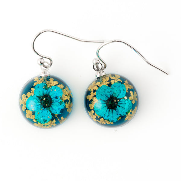Mini Orb Earrings Blue