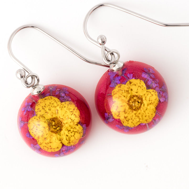 Flower Earrings Mini Orb Earrings Yellow-Red