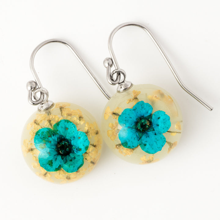 Flower Earrings Mini Orb Earrings Blue