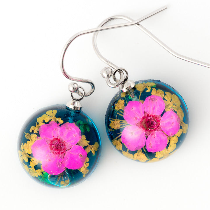 Flower Earrings Mini Orb Earrings Purple-Blue