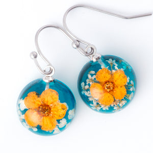 Flower Earrings Mini Orb Earrings Orange-Blue