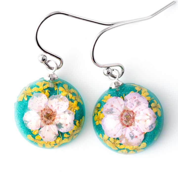 Flower Earrings Mini Orb Earrings Pink-Green