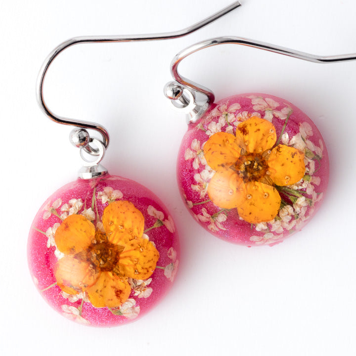 Flower Earrings Mini Orb Earrings Orange-Pink