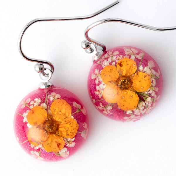 Mini Orb Earrings Orange-Pink