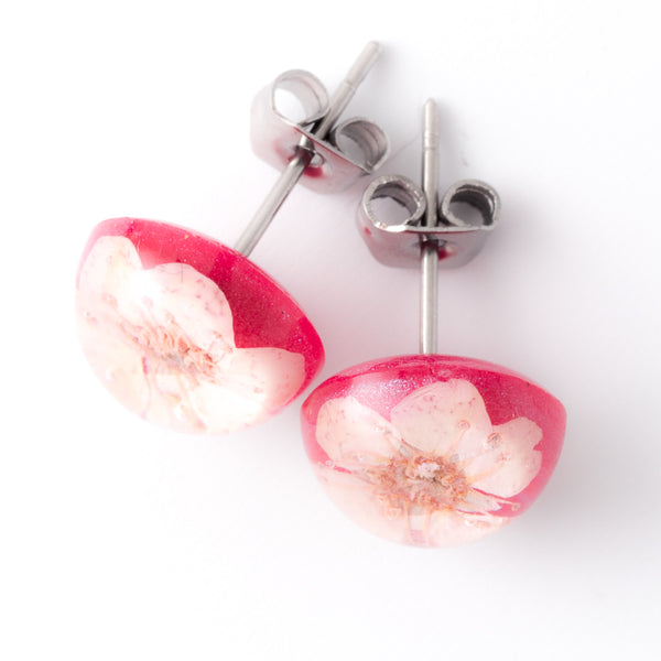 Pink-Red Orb Stud Earrings