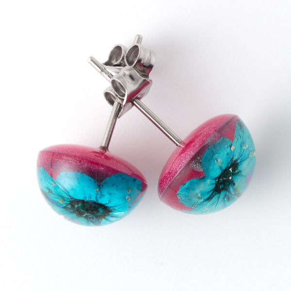 Blue-Pink Orb Stud Earrings