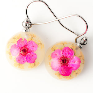Flower Earrings Mini Orb Earrings Purple