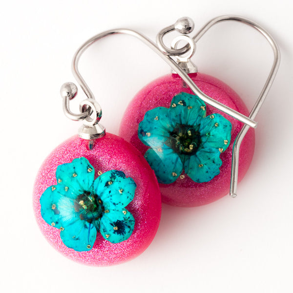 Mini Orb Earrings Blue-Red