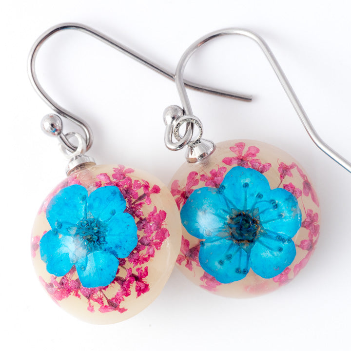Flower Earrings Mini Orb Earrings Blue-Purple