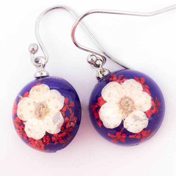 Mini Orb Earrings White-Purple