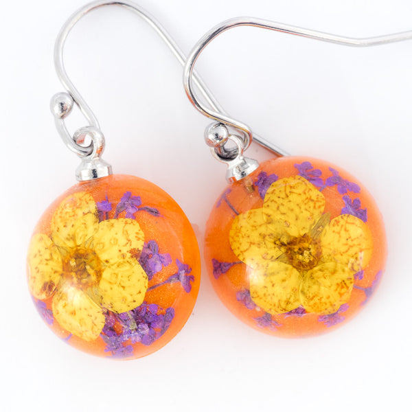 Mini Orb Earrings Yellow-Orange