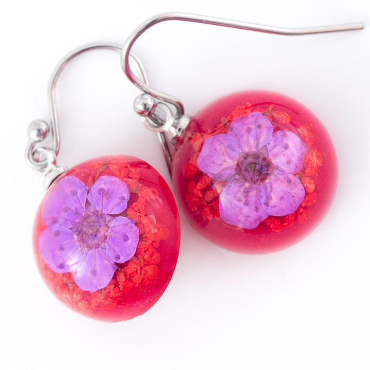 Flower Earrings Mini Orb Earrings Purple-Red