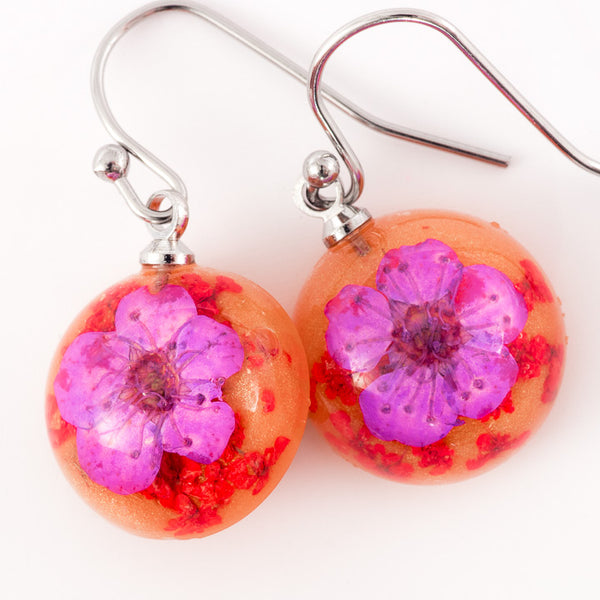 Mini Orb Earrings Purple-Orange
