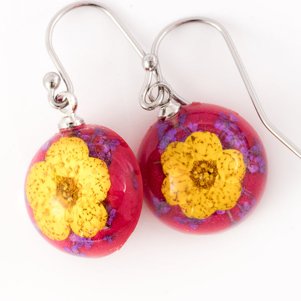 Mini Orb Earrings Yellow-Red