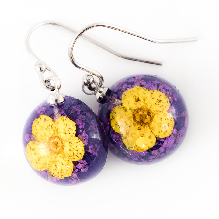 Flower Earrings Mini Orb Earrings Yellow-Purple