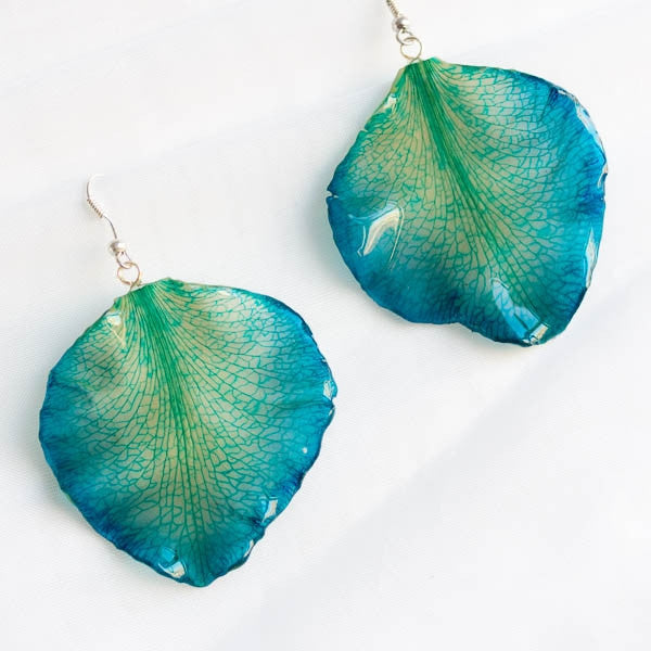 blue cattleya orchid flower petal earrings
