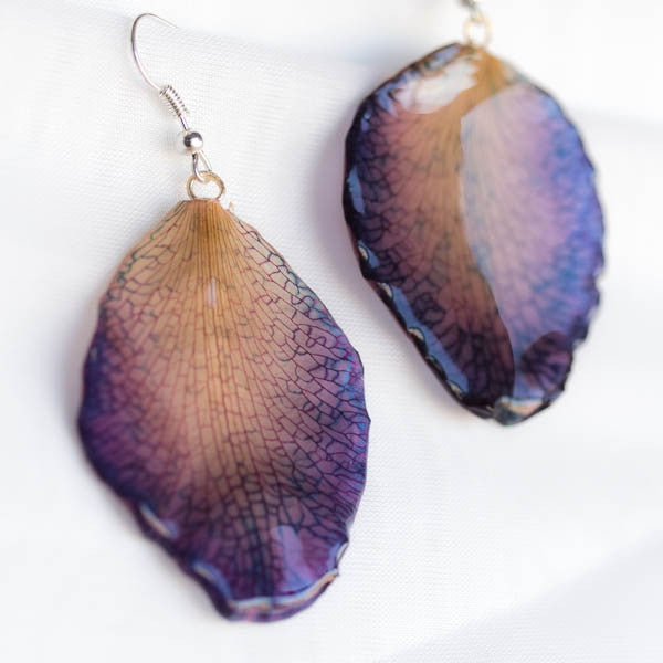 Large purple Cattleya Orchid Petal Earrings