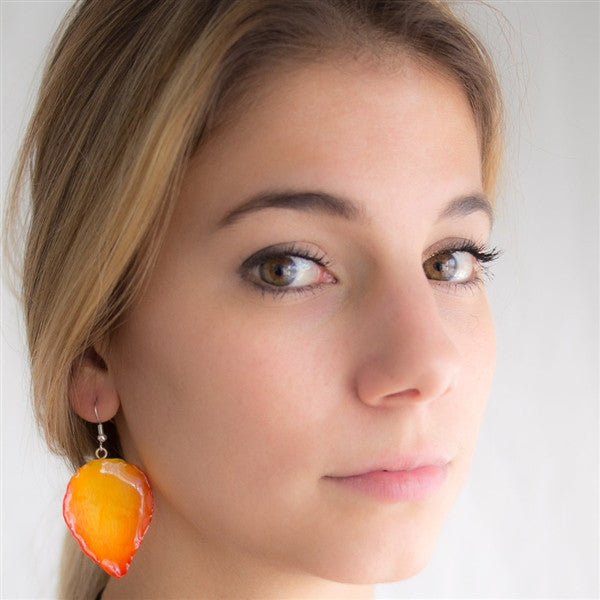 Large Pink-Orange Cattleya Orchid Petal Earrings