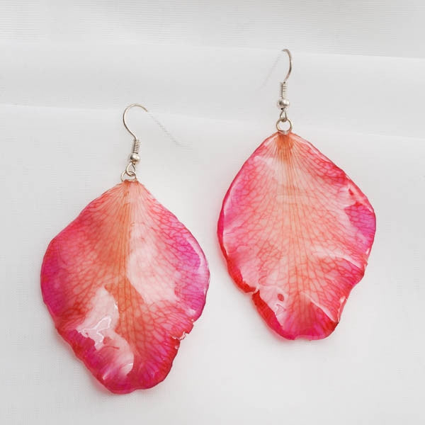 Large Pink Cattleya Orchid Petal Earrings