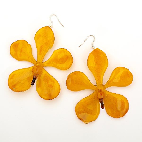 Flower Earrings Large Yellow Mokara Orchid Earrings