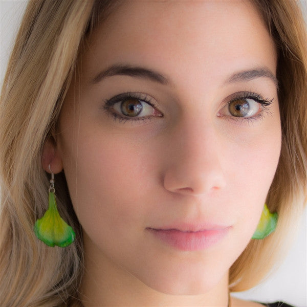 Green Carnation Petal Earrings