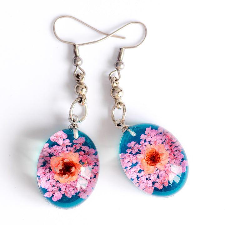 Flower Earrings Pink-Fuchsia-Blue Orb Bea Earrings