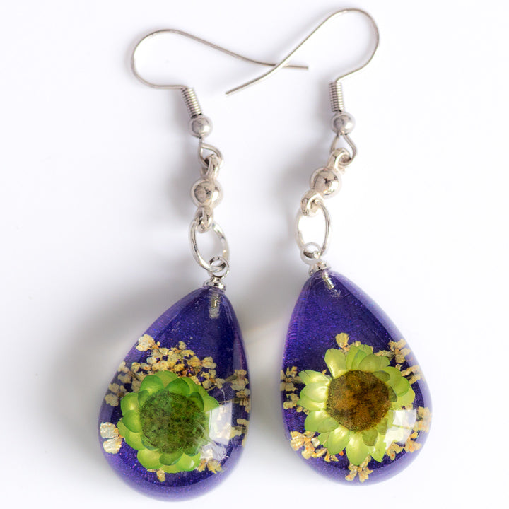 Flower Earrings Green-Purple Orb Bea Earrings