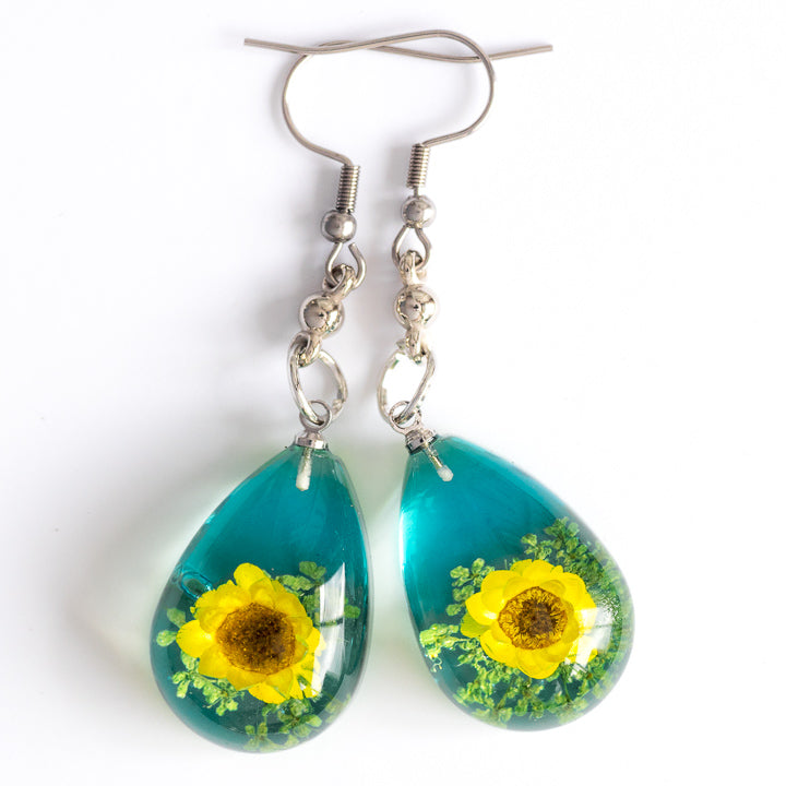 Yellow-Blue Orb Bea Earrings