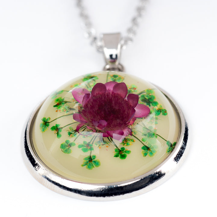 Orb Necklace Purple-Green Daisy