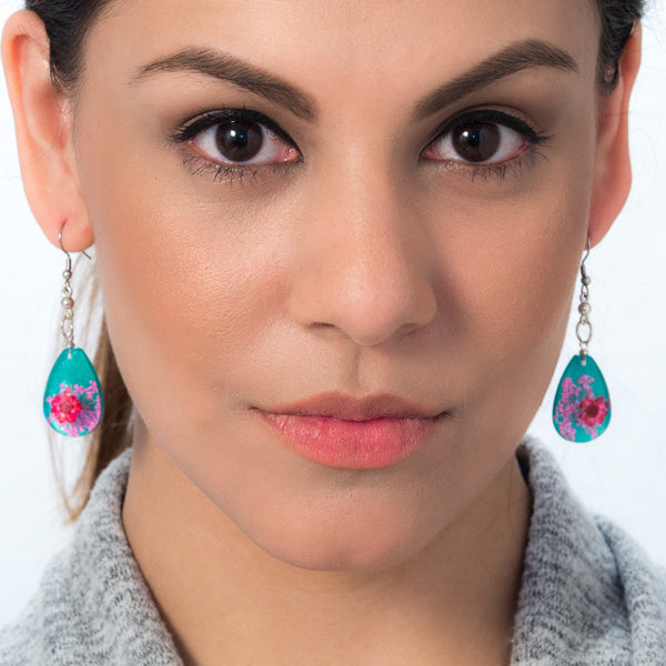 Pink-Green Orb Bea Earrings