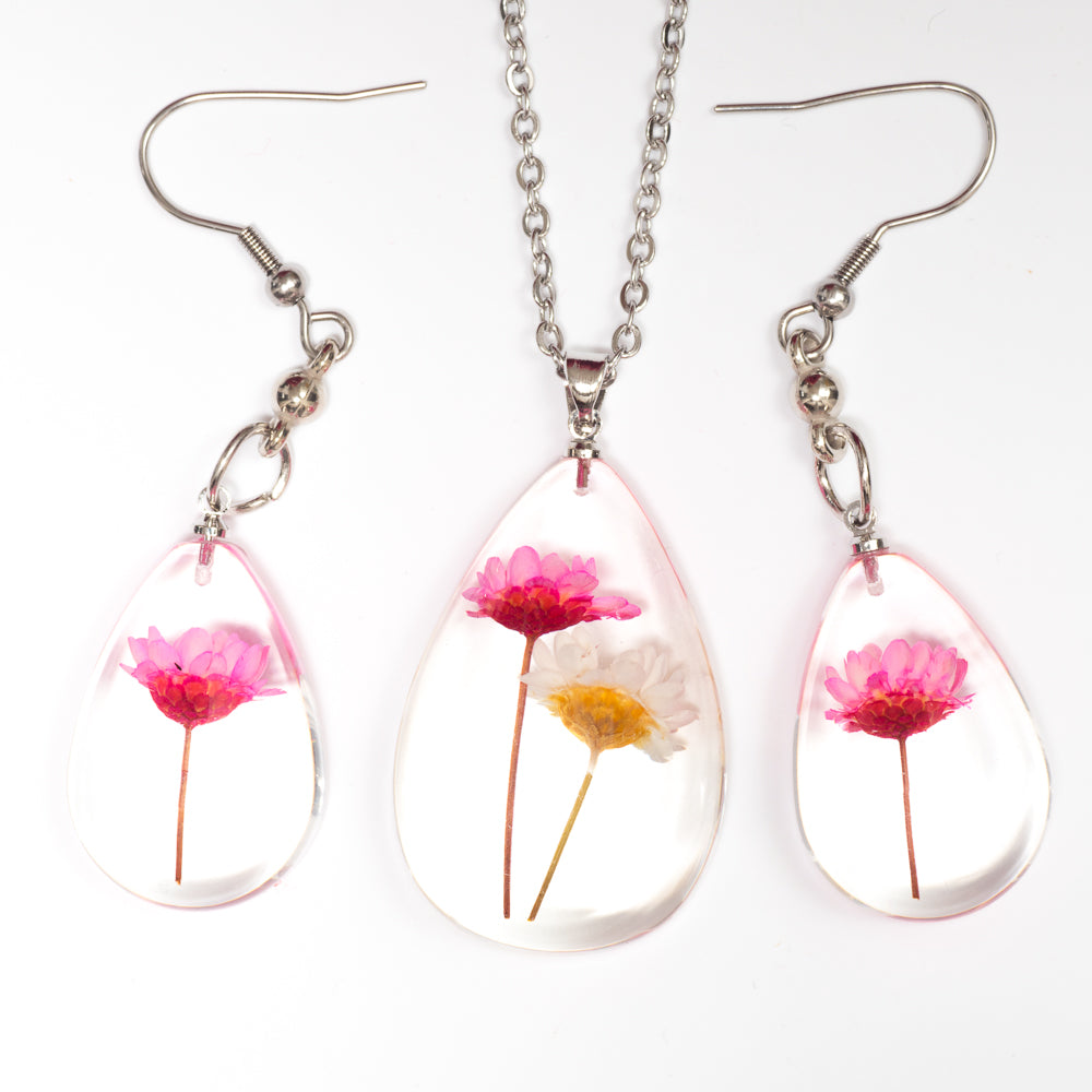 Flower Necklace Orb Bea set pink-white