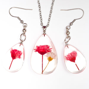 Flower Necklace Orb Bea set red-white