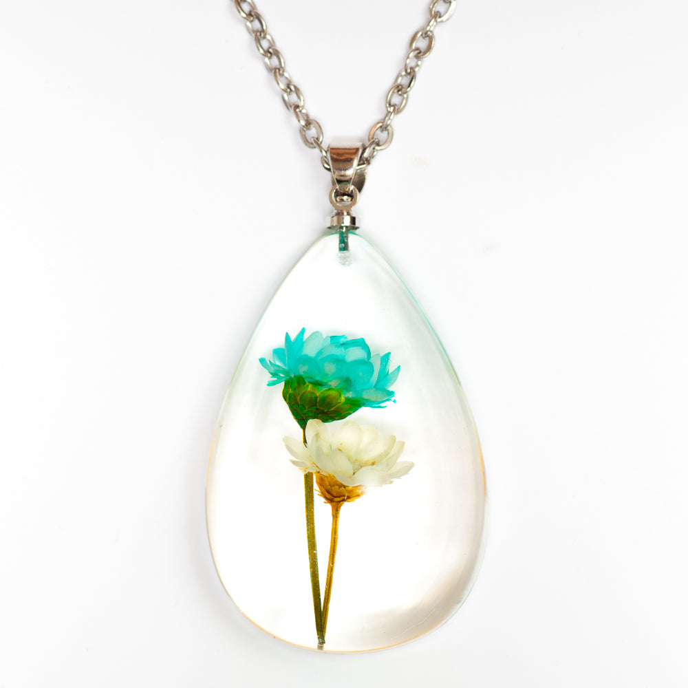Flower Necklace Orb Bea set blue-white