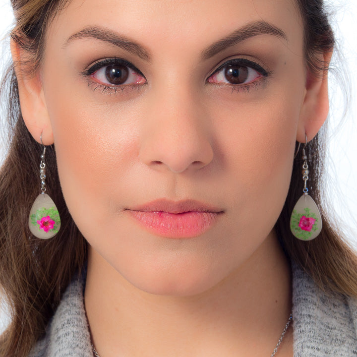 Flower Earrings Pink-Green Orb Bea Earrings