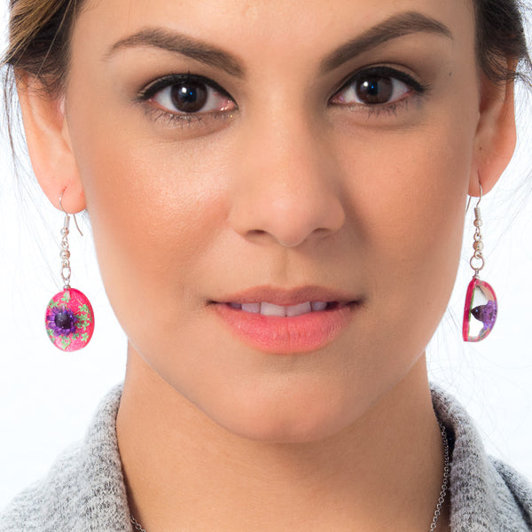 Purple-Pink Orb Bea Earrings