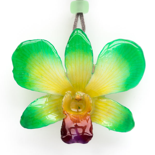 Green-Yellow Dendrobium Orchid necklace