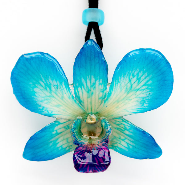 Blue-White Dendrobium Orchid necklace