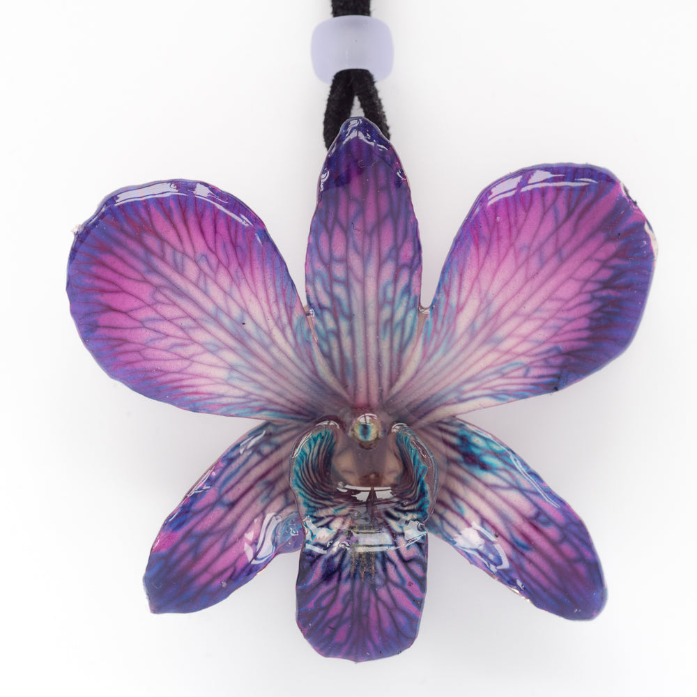 Purple Dendrobium Orchid necklace