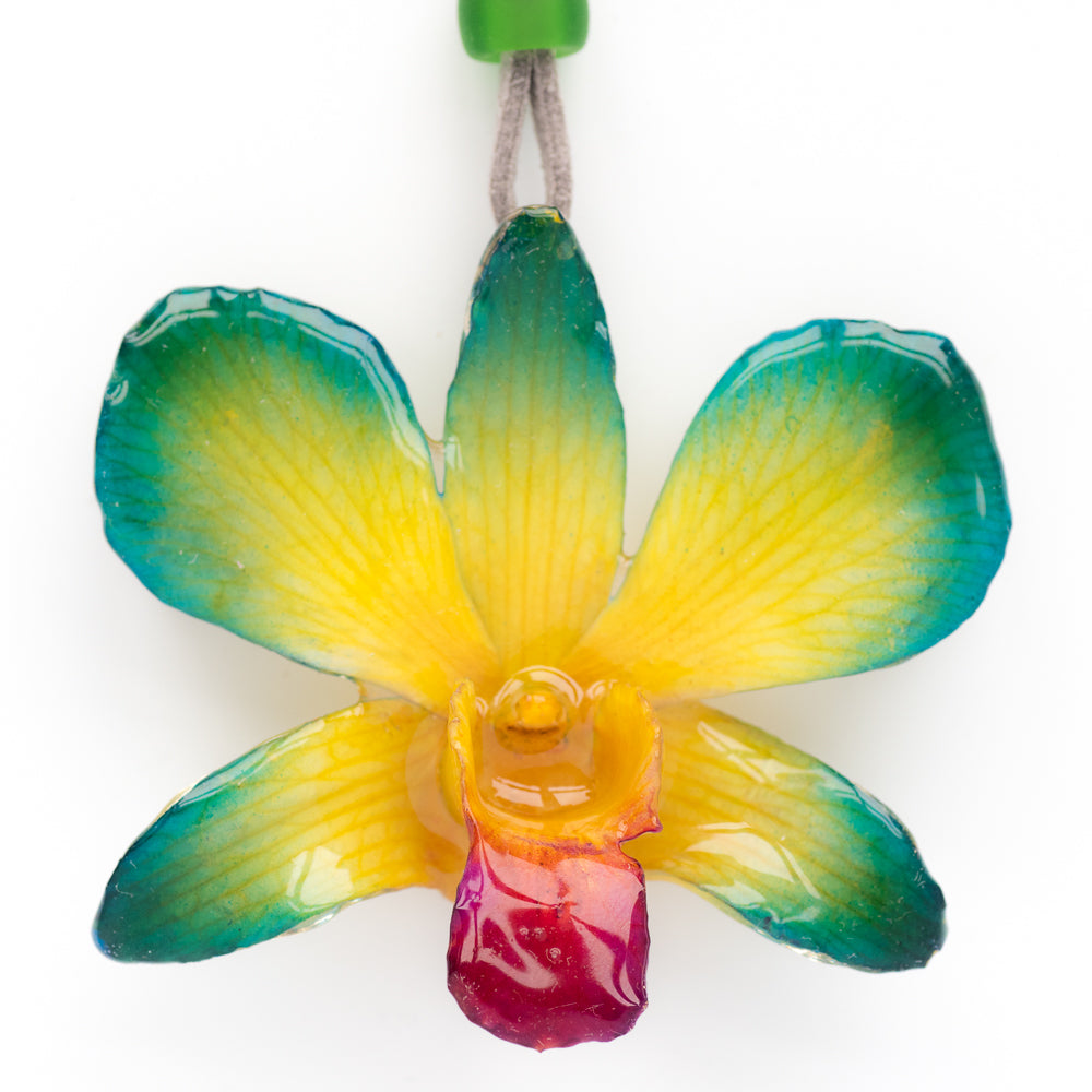 Flower Necklace Yellow-Blue Dendrobium Orchid