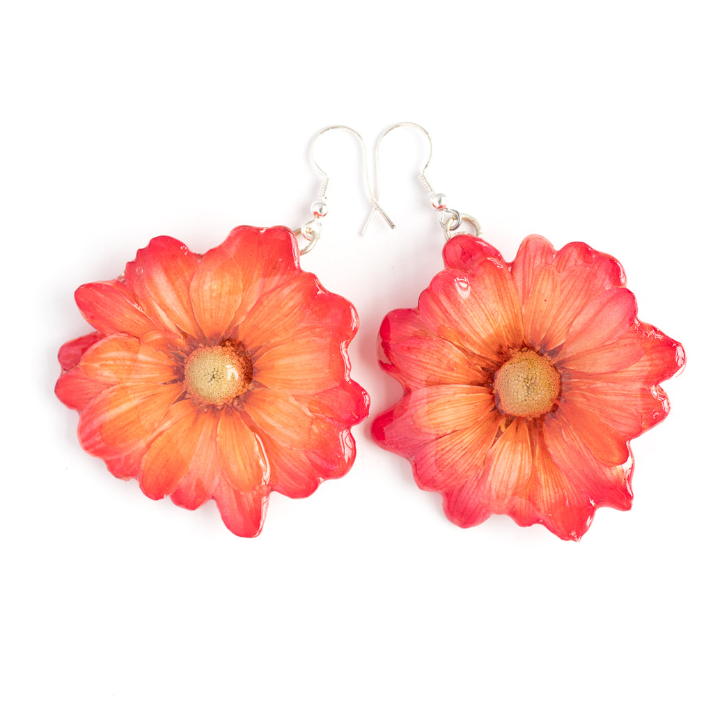 Red Orange Chrysanthemum Earrings