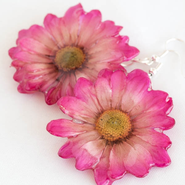 Pink White Chrysanthemum Earrings