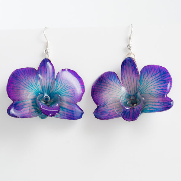 Purple Blue Dendrobium Caren Orchid Earrings
