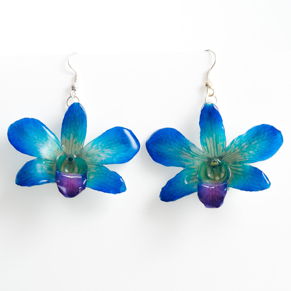 Flower Earrings Blue-Purple Dendrobium Fancy Orchid Earrings