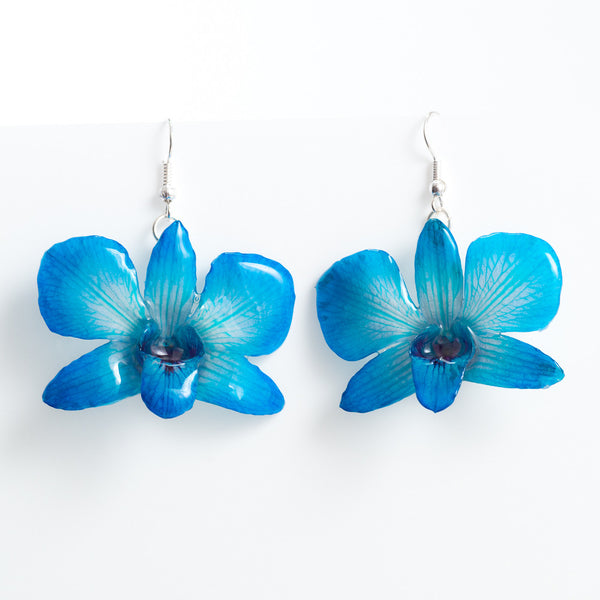 Blue Dendrobium Caren Orchid Earrings