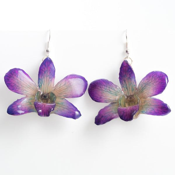 Purple Dendrobium Fancy Orchid Earrings