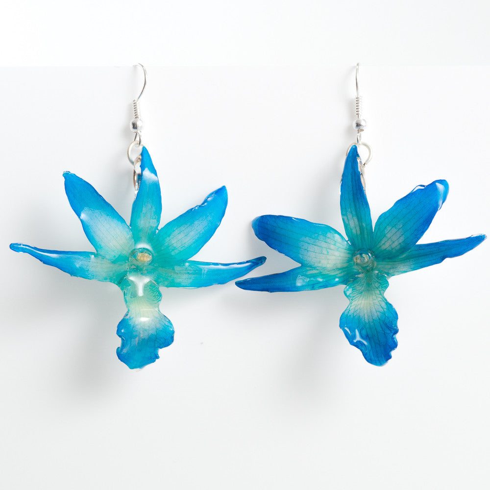 Flower Earrings Blue Draconis Orchid Earrings