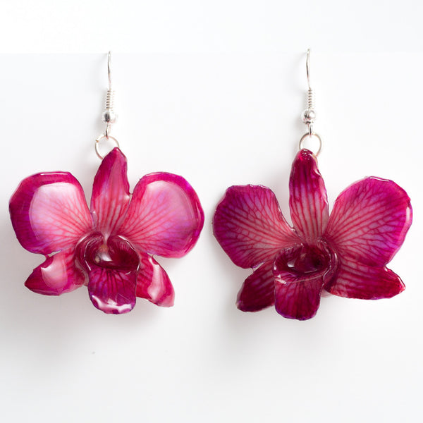 Purple Pink Dendrobium Caren Orchid Earrings